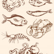 Hand drawn seafood icons — ストックベクタ