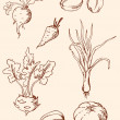 Hand drawn vintage vegetables — Stock Vector