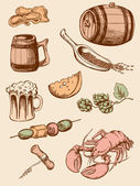 Set vintage bier-icons — Stockvektor