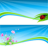 Blue spring banner — Stock Vector