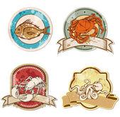 Etiquetas vintage com frutos do mar — Vetorial Stock