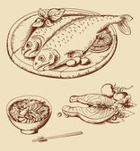 Hand drawn vintage seafood — Stock Vector