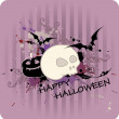 Halloween background with pumpkin and skull — Stock Vector #7464985