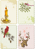 Retro Christmas cards — Vector de stock
