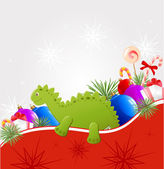 Christmas background with dragon — 图库矢量图片