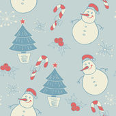 Seamless pattern with snowman — Stock vektor