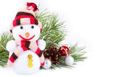 Christmas background with snowman — Stock Photo