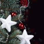 fir 支店およびクリスマスの装飾 — ストック写真