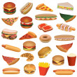 Big fast food set — Stock Vector