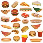 Big fast food set — Stock Vector