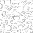 Wektor stockowy : Kitchen equipment pattern