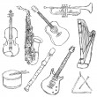 Musical instruments — Vettoriale Stock #7304442