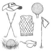 Coleção de golfejogadores de golfe em posição diferente — Vetorial Stock