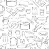 Kitchen equipment pattern — Stok Vektör