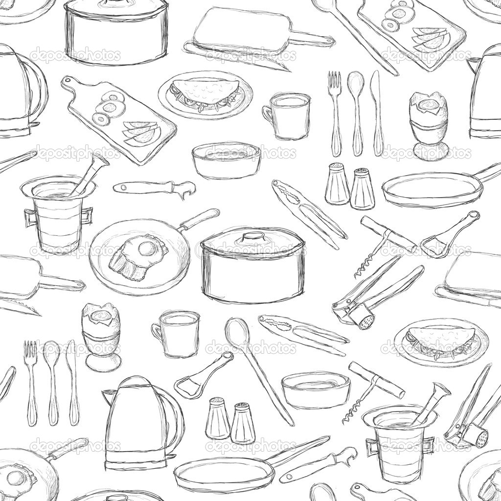 Kitchen Equipment Drawing Kitchen Equipment Pattern