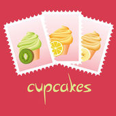 Cupcake stamps — Stock Vector