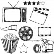 Stock Vector: Movie doodle collection