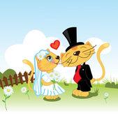 Cat gentleman offers to marry cat-girlfriend — Stock Vector
