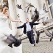 Bride and groom walking behind doves — Stock Photo