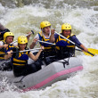 Group of whitewater rafting - Stock Photo