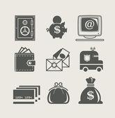 Bank- en financiewezen ingesteld pictogram — Stockvector