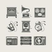 Ensemble d'appareil musical d'icône — Vecteur
