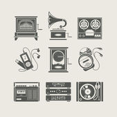 Conjunto de dispositivos musicales del icono — Vector de stock