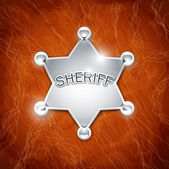 Sheriff's metallic badge as star on leather texture — Stock Vector
