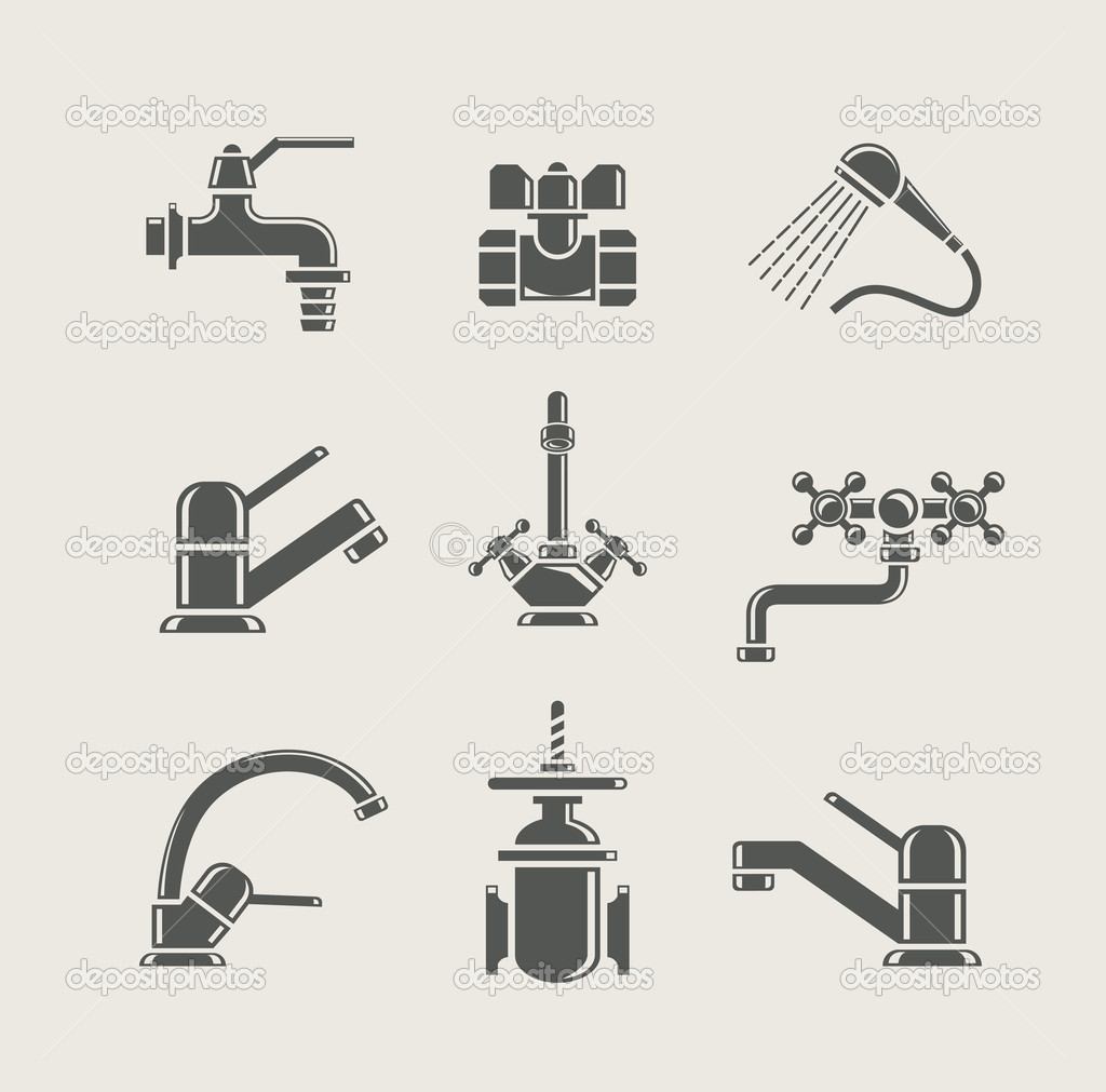 Water-supply faucet mixer, tap, valve for water set icon vector illustration — Stock Vector #10398596