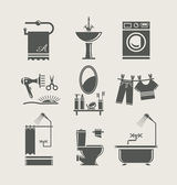 Equipamentos de casa de banho conjunto ícone — Vetorial Stock