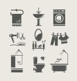 Equipamiento de baño conjunto icono — Vector de stock