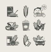 Corn and products set icon — Stock Vector