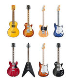 Acoustic and electric guitars — Stockvector