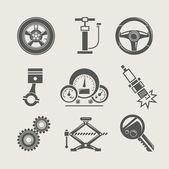 Set de pièces de voiture de réparation icône — Vecteur