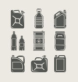 Plastic and metallic can set icon — Vetor de Stock
