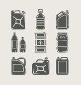 Plastové a kovové lze nastavit ikonu — Stock vektor