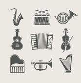 Ensemble d'instruments de musique d'icônes — Vecteur