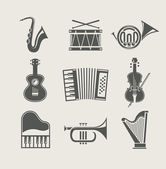 Musical instruments set of icons — Vetor de Stock