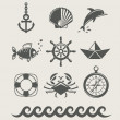 Sea and marine symbol set of icon — Stock Vector #11483320