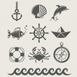 Sea and marine symbol set of icon - Stock Vector