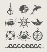 Mar y marina símbolo conjunto de icono — Vector de stock