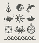 Sea and marine symbol set of icon — Vetor de Stock