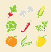 Vegetables set of icons — Stock Vector