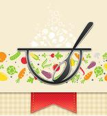 Teller mit gemüse, lebensmittel-hintergrund — Stockvektor