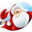 Happy Santa Claus face greeting — Stock vektor