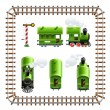 Green vintage locomotive with coach set — Stok Vektör