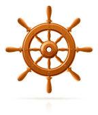 Navire roue marine en bois vintage — Vecteur