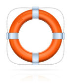 Red life buoy with rope — Stock Vector