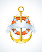 Anchor and life buoy with ribbon — Stock Vector