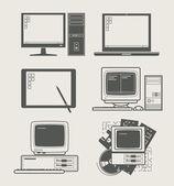 Ustaw ikonę komputera — Wektor stockowy